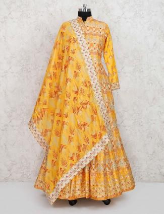 Wedding wear yellow hue cotton silk anarkali suit
