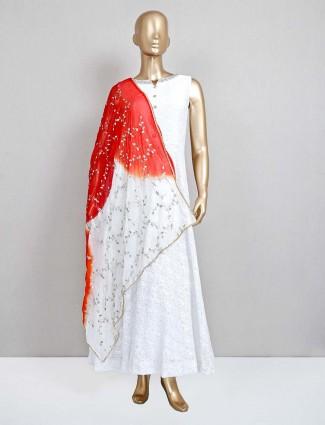 White anarkali suit for wedding session