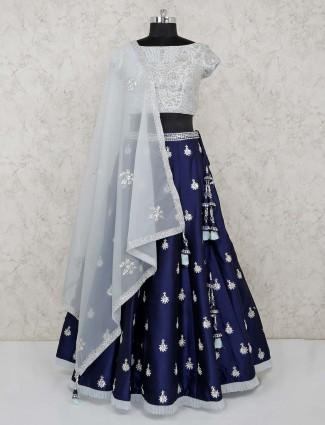 White and blue silk wedding wear lehenga choli