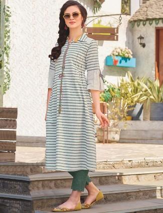 White and green stripe cotton kurti