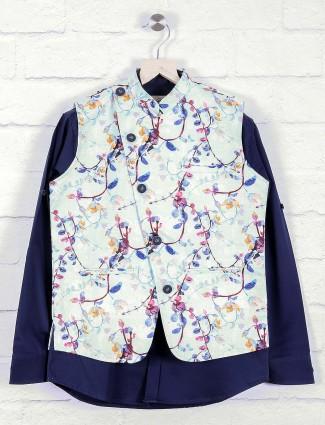 White and navy hue printed boys waistcoat
