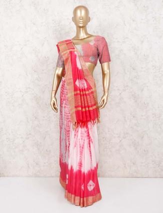 Pink shibori printed jaipuri cotton festive wear saree