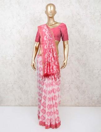 Shibori printed pink jaipuri cotton saree