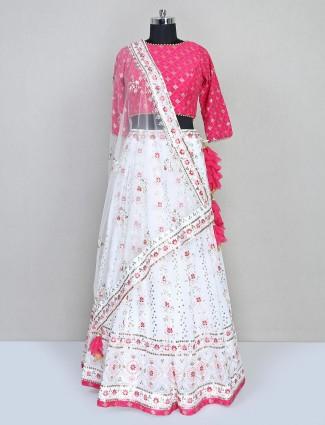 White and pink Designer georgette lehenga choli for wedding