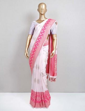 White and pink designer wedding saree