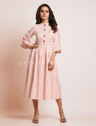 White and pink striped cotton kurti