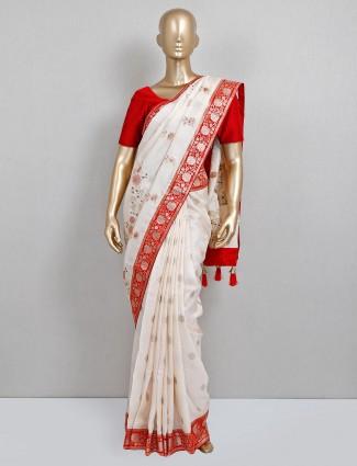 White and red dola silk wedding wear saree