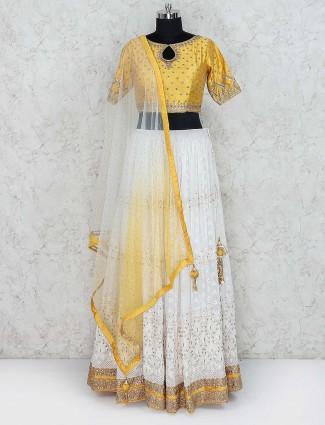 White and yellow georgette lehenga choli