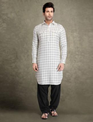 White collar neck cotton checks pathani suit