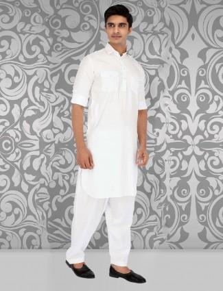 White collar pattern festive pathani suit