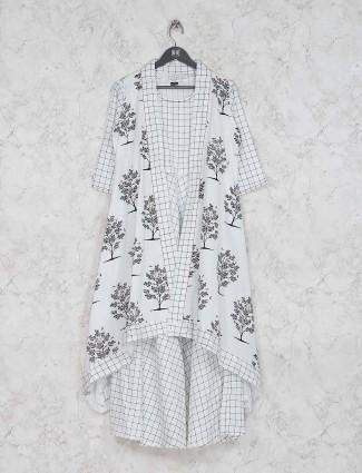 White color checks pattern asymmetric kurti