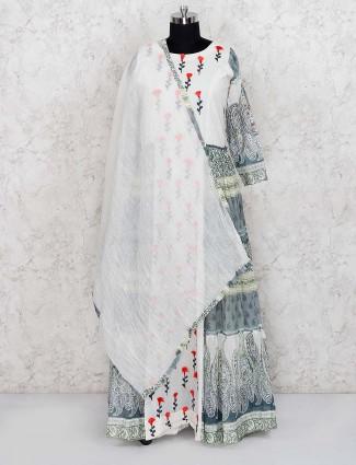 White color cotton fabric printed floor length anarkali salwar suit