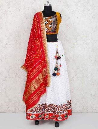 White color cotton silk festive wear lehenga choli