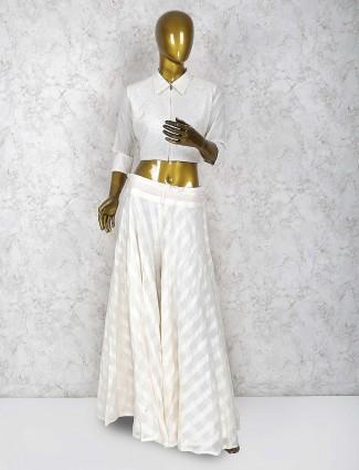 White color cotton silk indo western palazzo suit