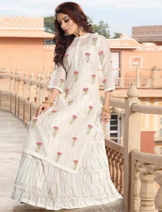 White color cotton silk pretty festive lehenga cum salwar suit