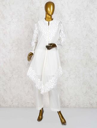 White color designer salwar suit in cotton silk