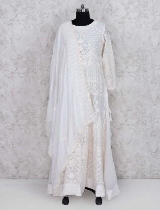 White color festive wear georgette floor length salwar suit