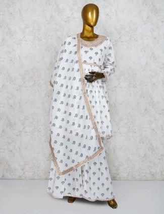 White color printed cotton punjabi sharara suit