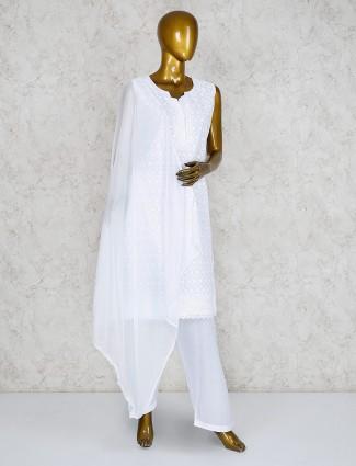 White cotton casual punjabi salwar suit