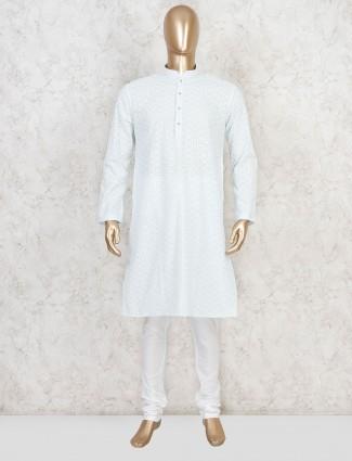 White cotton kurta with churidar