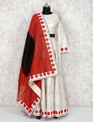 White cotton silk festive lehenga choli