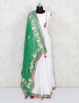 White cotton silk festive wear anarkali suit