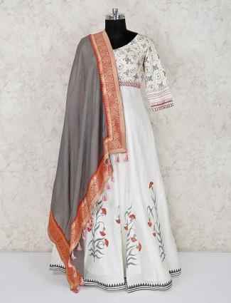 White cotton silk wedding anarkali salwar suit