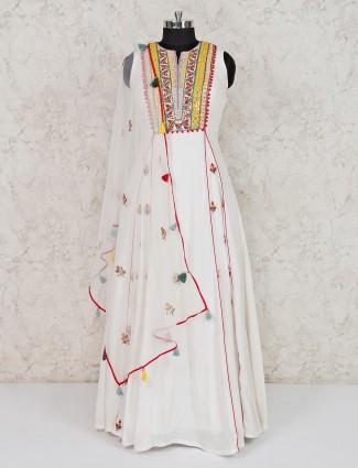 White cotton silk wedding wear anarkali suit