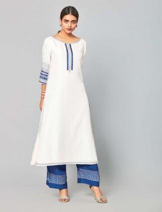 White hue chanderi silk festive punjabi salwar suit