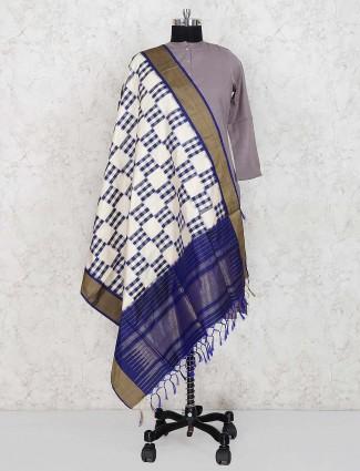 White hue checks pattern silk dupatta