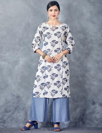 White hue cotton printed kurti set