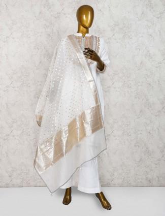 White hue cotton silk classic punjabi salwar suit