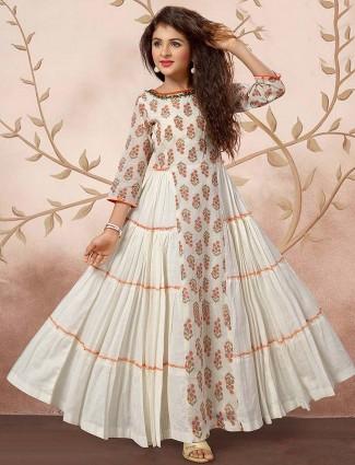 White hue festive cotton printed floor length anarkali salwar suit