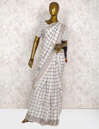 White hue festive linen saree