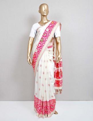 White patola silk saree design for festival