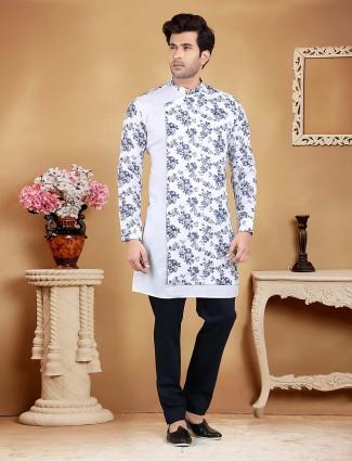 White printed pattern cotton kurta suit