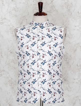 White printed pattern terry rayon fabric waistcoat