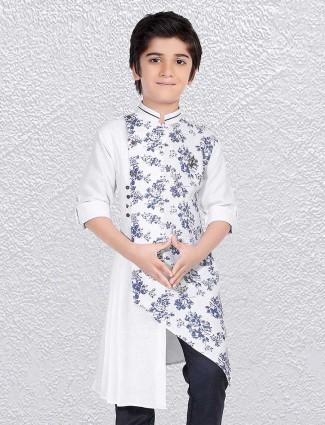 White printed short kurta in cotton