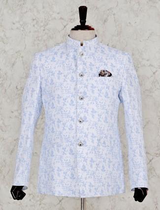 White printed terry rayon jodhpuri blazer