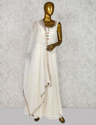 White punjabi palazzo suit in georgette