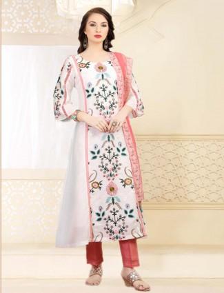 White round neck cotton silk kurti for festive