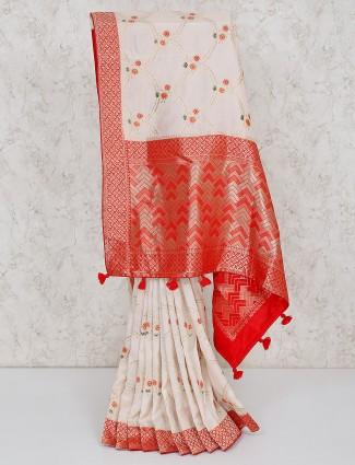 White saree in silk silk fabric