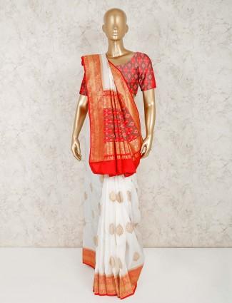 White semi silk saree for reception wear