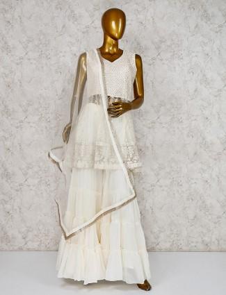 White sharara suit in net fabric