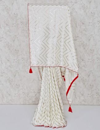 White silk pretty saree