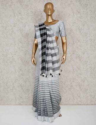 White stripe linen saree