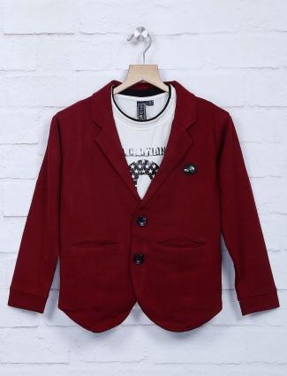 酒红色栗色棉质面料派对西装外套