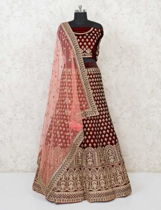 Wine maroon semi stitched velvet lovely lehenga choli