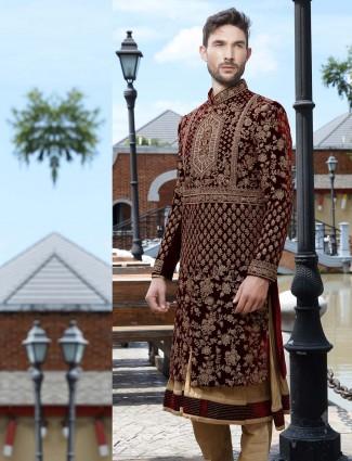 Wine maroon velvet groom designer anarkali sherwani