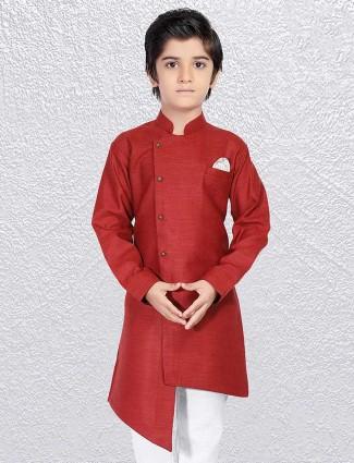 Wine wedding short kurta for boys